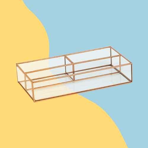 "10""X5""X2"" 3 Compartment Vertical Glass & Metal Vanity Organizer Copper Finish - Threshold™"