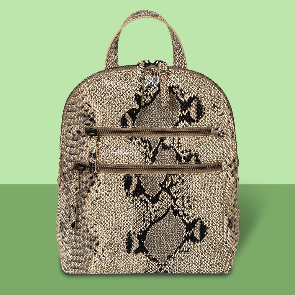 Bolo Snake Print Zip Closure Backpack - Brown