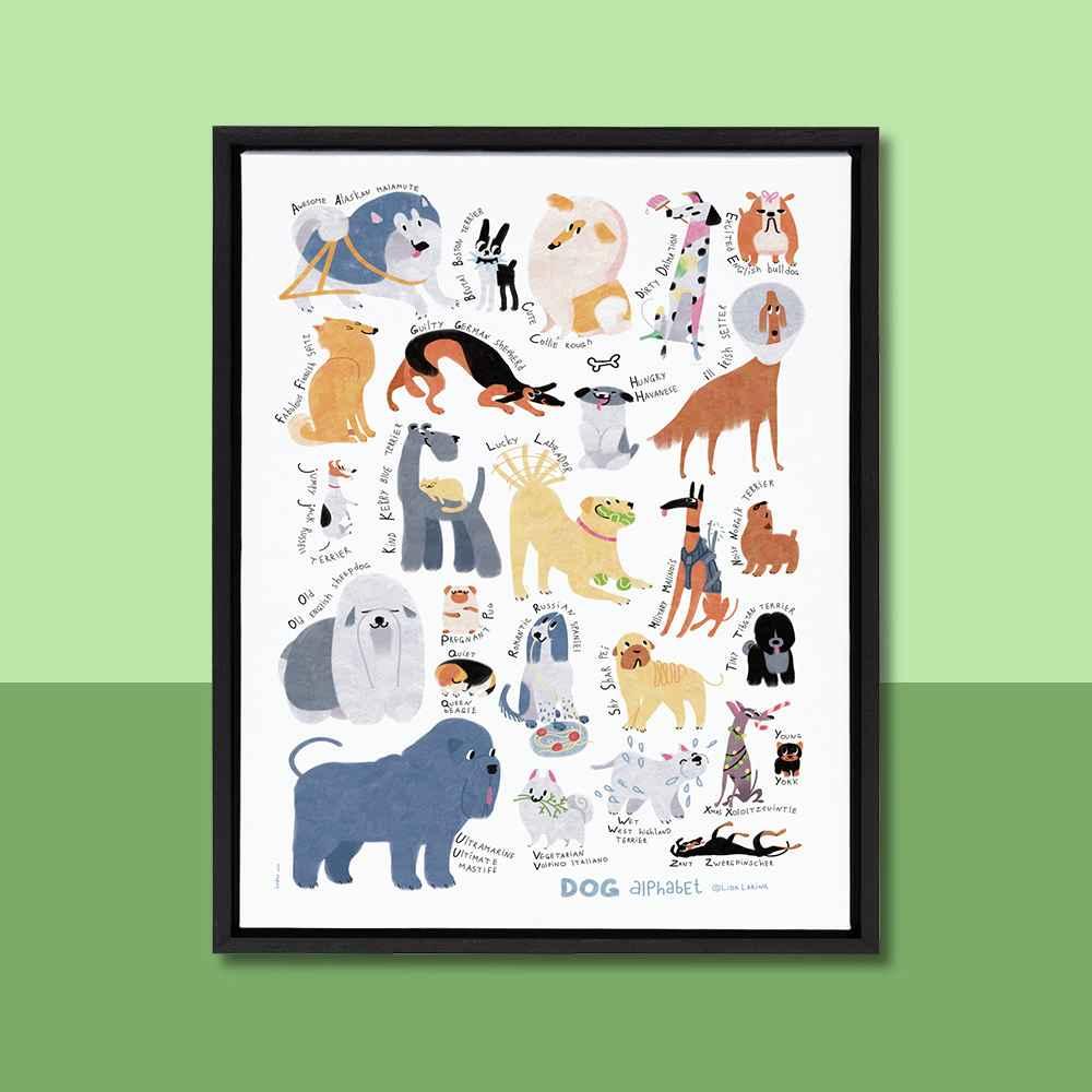 "18"" x 24"" Sylvie Dog Alphabet Framed Canvas by Lida Larina Black - Kate and Laurel"