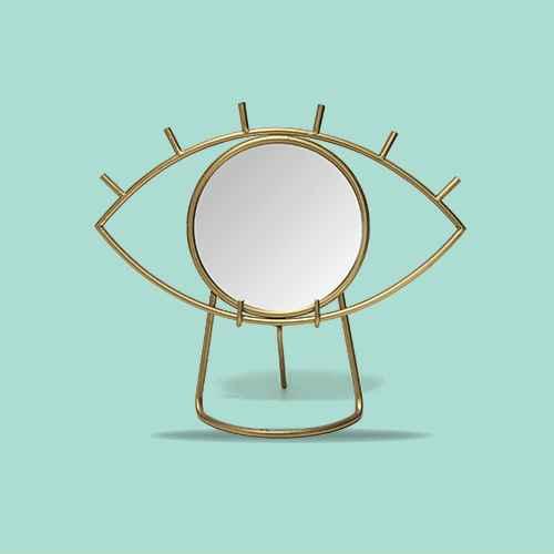 "14"" x 11.5"" Gold Eye Tabletop Mirror Gold - Stratton Home Dcor"