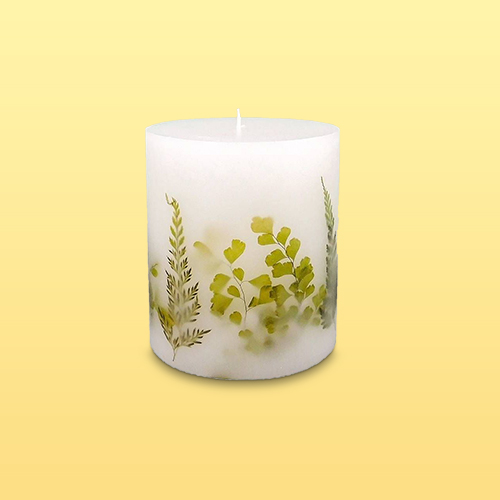 "4.5"" x 4"" Unscented Botanical Pillar Candle Green Leaves - Threshold™"