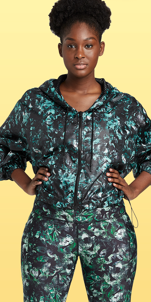 Women's Floral Print Active Zip Front Jacket - All in Motion™ Black
