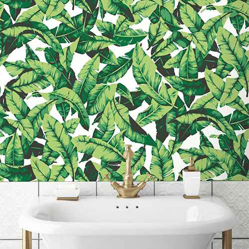 RoomMates Palm Leaf Peel & Stick Wallpaper Green/White
