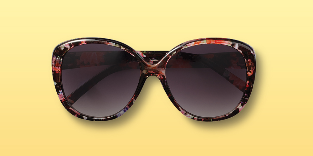 Women's Cateye Sunglasses with Floral Print - A New Day™ Black