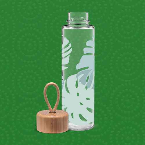 Ello Thrive 20oz Glass Water Bottle with Bamboo Lid