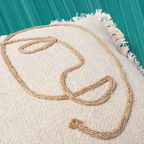 Oversized Lumbar Cotton/Linen Pillow with Jute Embroidery Neutral - Opalhouse™