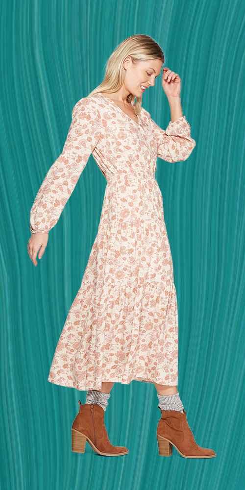 Women's Floral Print Long Sleeve V-Neck Faux Fur Wrap Tiered Maxi Dress - Universal Thread™ Cream