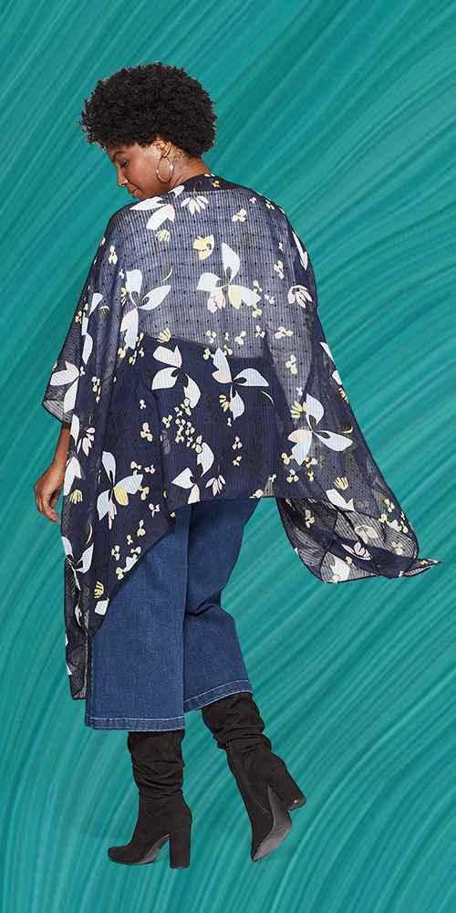 Women's Plus Size Floral Print Lightweight Kimono Jacket Ruana - A New Day™ Navy