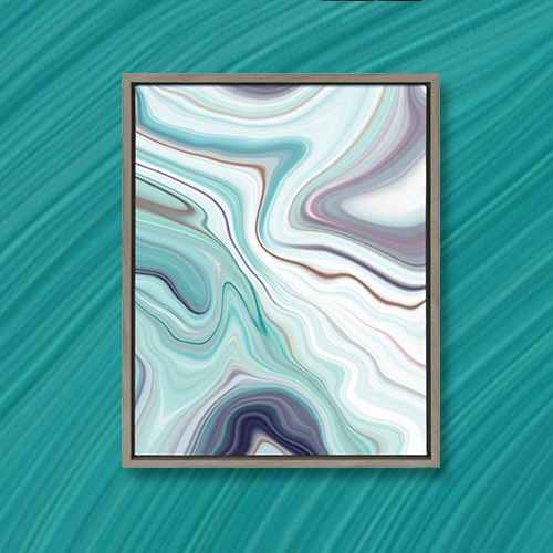 """Kate & Laurel 24""""x18"""" Sylvie Aqua Marine And Marble Abstract By Amy Peterson Framed Wall Canvas Gray"""