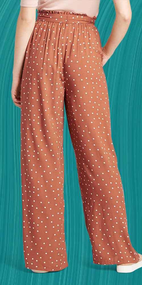 Women's Polka Dot Mid-Rise Belted Wide Leg Soft Pants - Xhilaration™ Brown