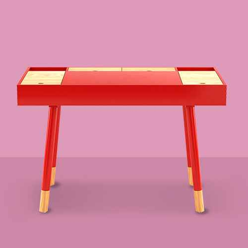 Minerva Wood Writing Desk with Storage Red - Inspire Q