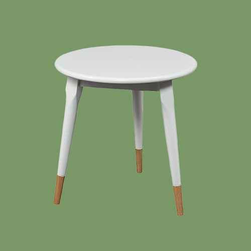 Alden Round Side Table Glossy - White - Aiden Lane