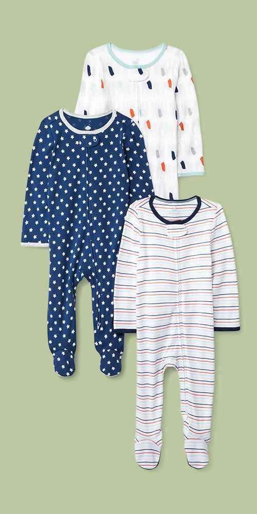 Baby 3pk Little Peanut Zip Sleep N' Play Pajama - Cloud Island™