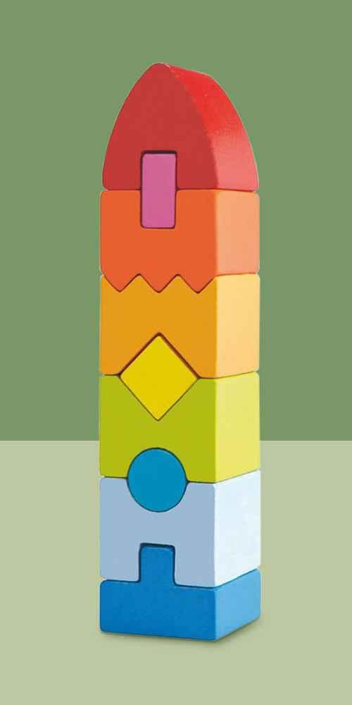 Haba Rainbow Rocket STEM Building Block Set