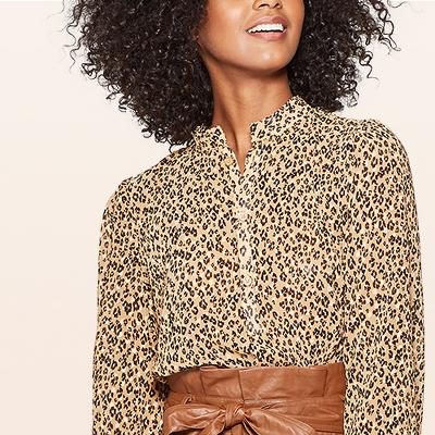 Women's Leopard Print Long Sleeve Banded Collared Blouse - Who What Wear™ Brown