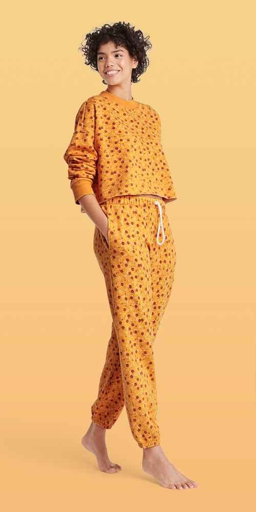 Women's Floral Fold-Over Fleece Lounge Jogger Pants - Colsie™ Yellow XS, Women's Floral Fleece Lounge Cropped Sweatshirt - Colsie™ Yellow XS