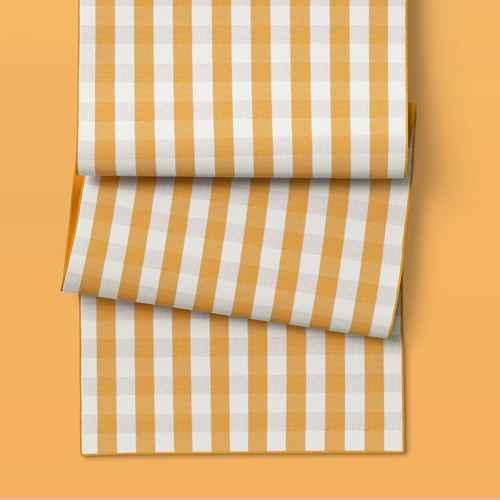 "90"" x 20"" Cotton Gingham Check Table Runner Yellow - Threshold™"