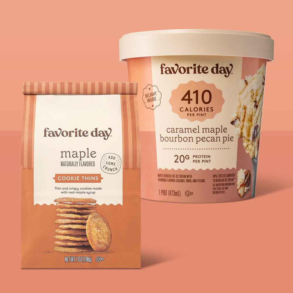 Reduced Fat Caramel Maple Bourbon Pecan Pie Ice Cream - 16oz - Favorite Day™, Maple Naturally Flavored Cookie Thin - 7oz - Favorite Day™