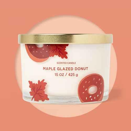 15oz Lidded Glass Jar Cream Donut Print 3-Wick Maple Glazed Donut Candle - Opalhouse™