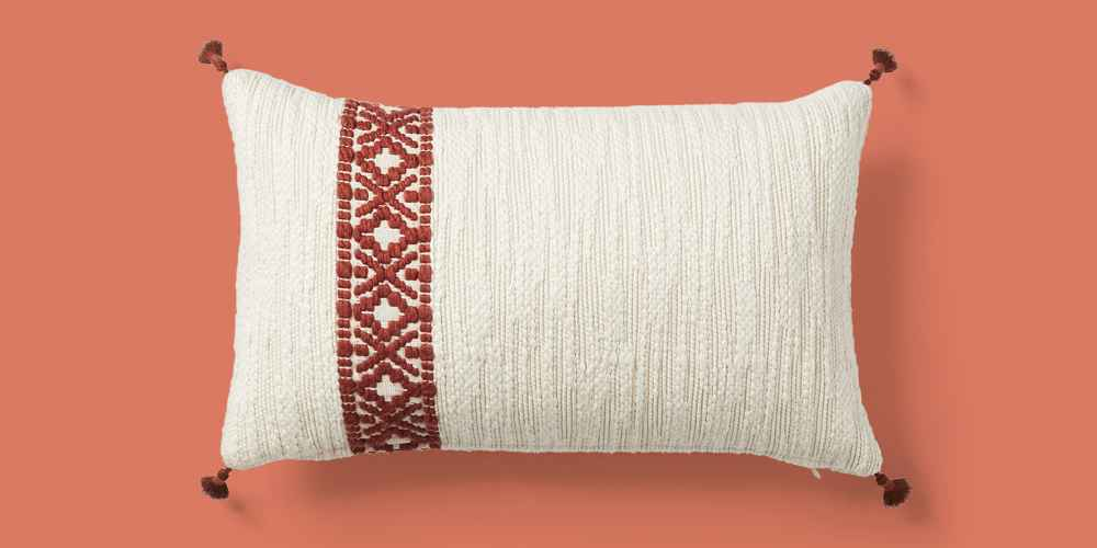 Woven Striped Lumbar Throw Pillow Cream/Rust - Threshold™ designed with Studio McGee
