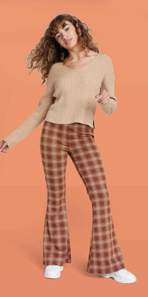 Women's Pull-On Knit Flare Pants - Wild Fable™ Brown Plaid M, Women's V-Neck Rib Knit Pullover Sweater - Wild Fable™ Taupe Brown XS