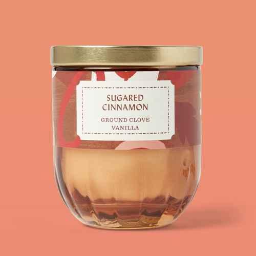 7oz Lidded Glass/Metal Ribbed Base Copper Bangle Sugared Cinnamon Candle - Opalhouse™, 15.1oz Lidded Glass Jar 2-Wick Cinnamon Pumpkin Muffin Candle - Opalhouse™