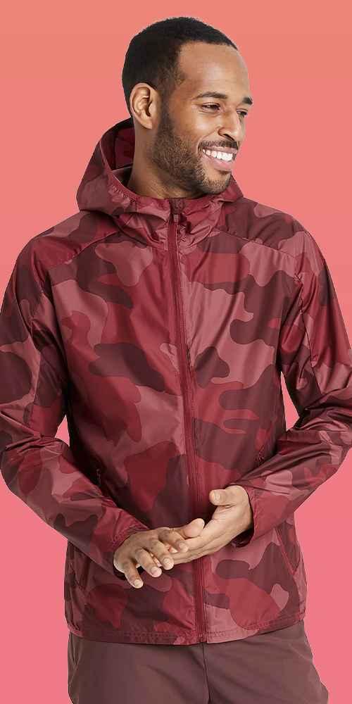 Men's Camo Print Windbreaker Jacket - All in Motion™ Red L