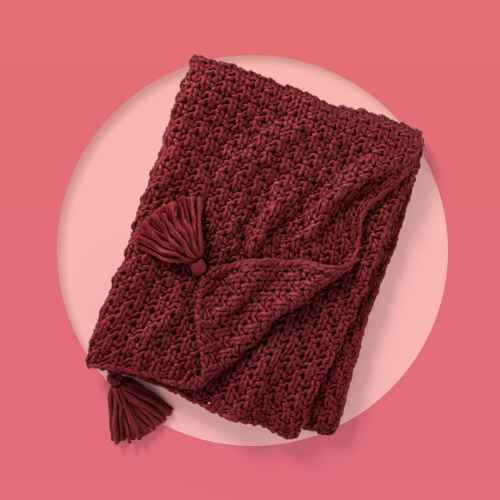 Chunky Knit Throw Blanket Burgundy - Threshold™ designed with Studio McGee