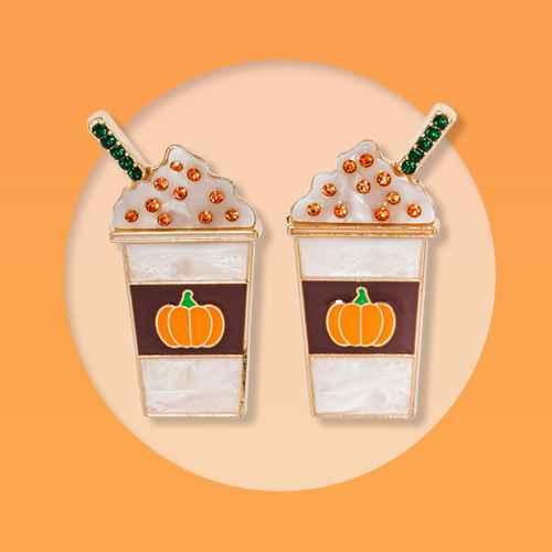 SUGARFIX by BaubleBar Pumpkin Latte Drop Earrings - White, SUGARFIX by BaubleBar Crystal Jack Lantern Stud Earrings - Orange