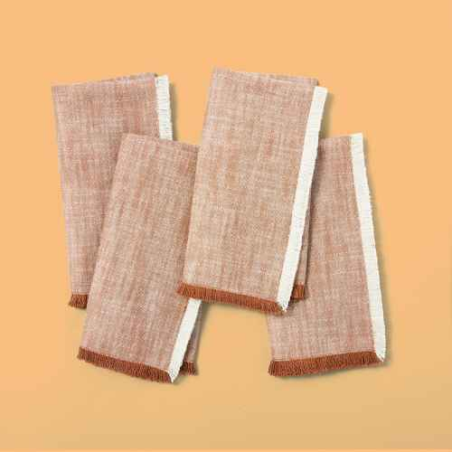 4pc Cross Weave with Fringe Napkin Set Pumpkin Brown - Hearth & Hand™ with Magnolia