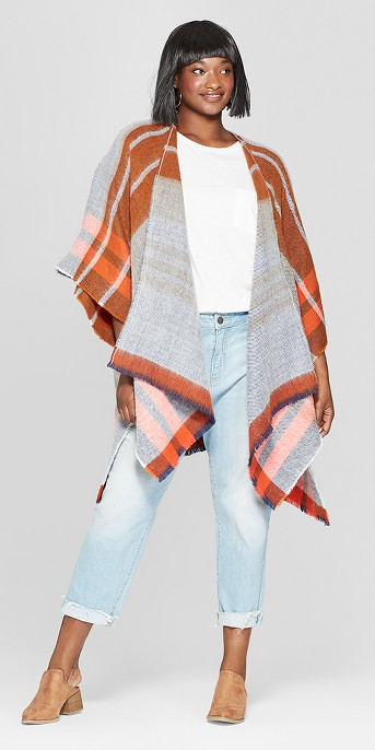 Women's Plus Size Woven Plaid Poncho Sweater - Universal Thread™ Rust OSFM Plus