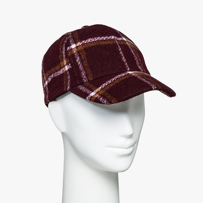 Women's Brush Plaid Baseball Hat - A New Day™ Wine