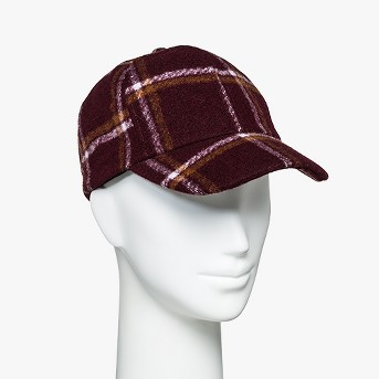 Women's Brushed Plaid Baseball Hat - A New Day™ Wine