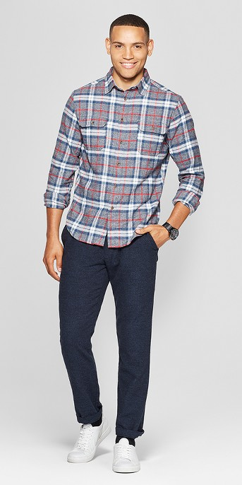 Men's Plaid Standard Fit 2-Pocket Flannel Long Sleeve Button-Down Shirt - Goodfellow & Co™