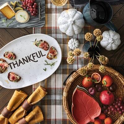 "Turkey Ceramic Platter White - Threshold™, Pumpkin Figural - White - Threshold™, 72""x14"" Plaid Table Runner Brown/Cream - Threshold™, Leaf Appetizer Plates - Set of 4 - Threshold™, Vase - Blue Glaze - Threshold™"