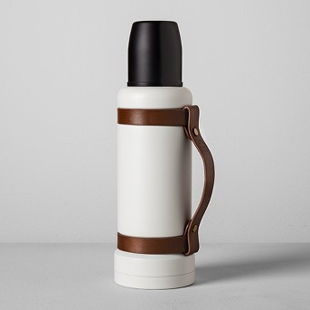 Portable Beverage Mug with Leather Strap (40oz) - Cream/Black - Hearth & Hand™ with Magnolia