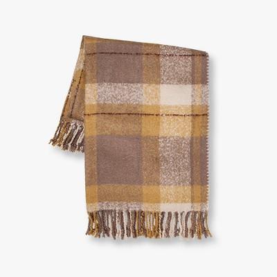 """60""""x50"""" Faux Mohair Plaid Throw Blanket - Threshold™"""