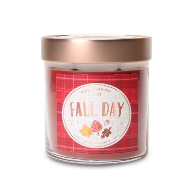 15.2oz Large Lidded Jar 2-Wick Candle Fall Day - Signature Soy