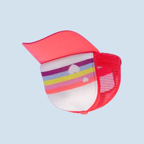 Girls' Rainbow Stripe Trucker Hat - More Than Magic™ Coral