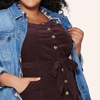 Women's Plus Size Sleeveless Square Neck Corduroy Midi Button-Front Dress - Universal Thread™ Brown