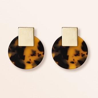 Women's Disk Post Earrings - A New Day™ Tortoise