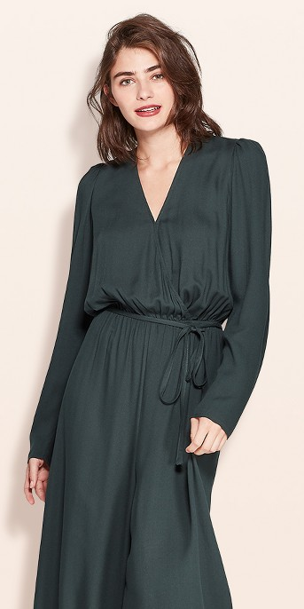 Women's Long Sleeve V-Neck Wide Leg Jumpsuit - A New Day™