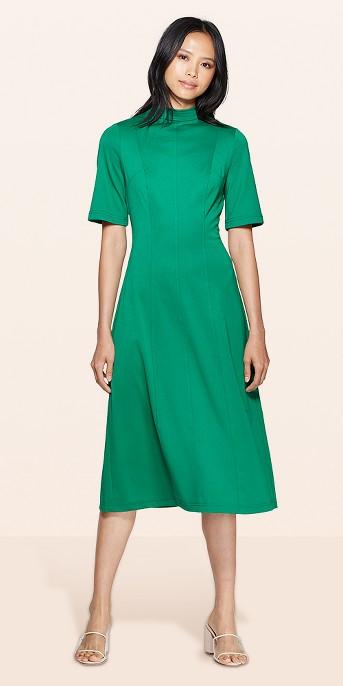 Women's Short Sleeve Cowl Neck Back Tie A Line Midi Dress - Who What Wear™