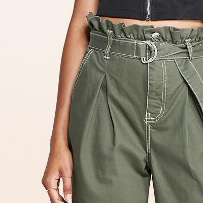 Women's High-Rise Paperbag Waist Pants - Wild Fable™ Olive