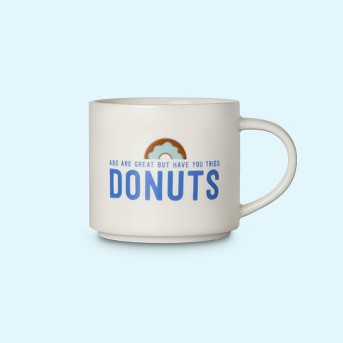 16oz Porcelain Abs Are Great But Have You Tried Donuts Mug White/Blue - Room Essentials™