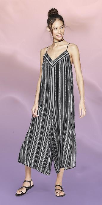 Women's Striped Strappy V-Neck Waistless Cropped Jumpsuit - Xhilaration™ Black/White