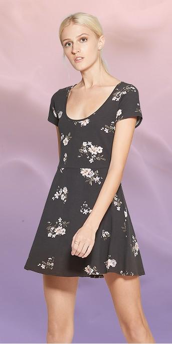 Women's Floral Print Short Sleeve Scoop Neck Knit Skater Dress - Wild Fable™ Black