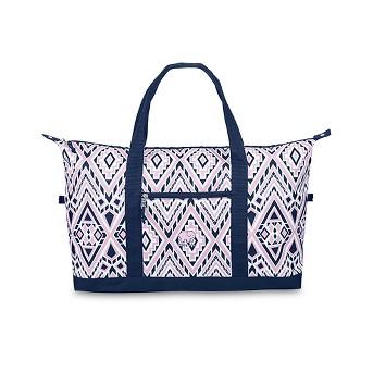 Ivory Ella Weekender Bag - Pink/Blue Diamond Mosaic