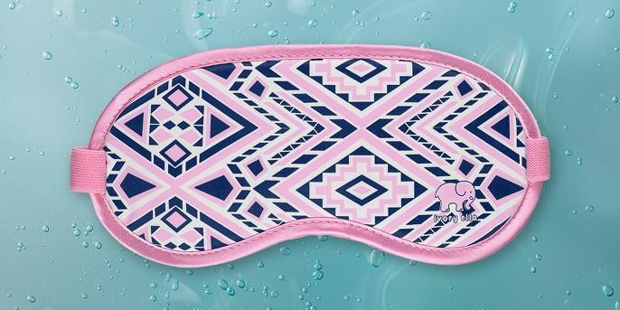 Ivory Ella Eye Mask - Pink/Blue Diamond Mosaic