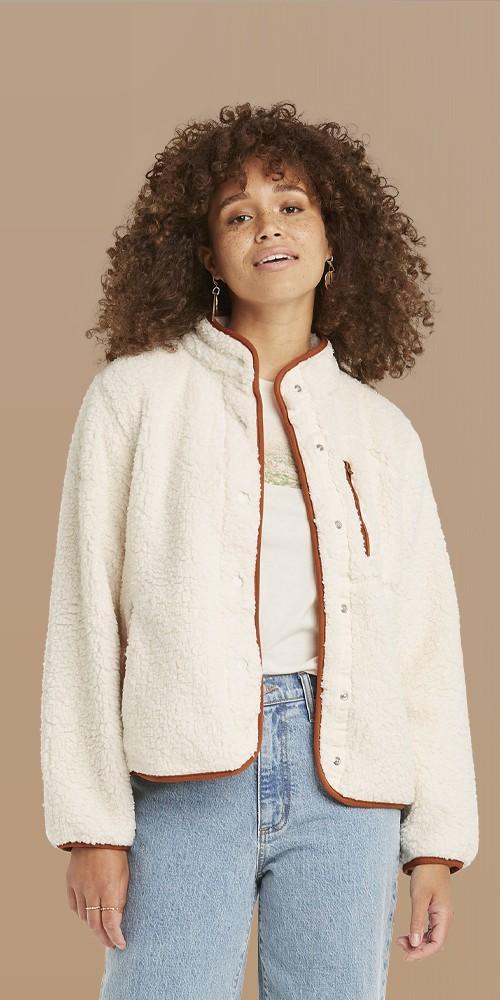 Women's Faux Fur Sherpa Jacket - Universal Thread™ Cream M